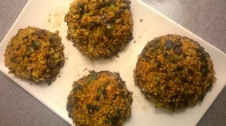 Baked mushrooms quinoa leek garlic