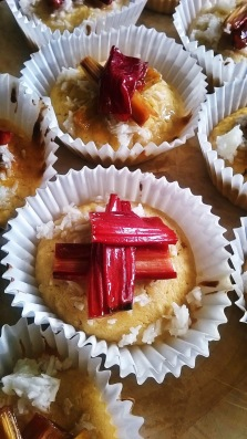 lime coconut and rhubarb cupcakes amazake