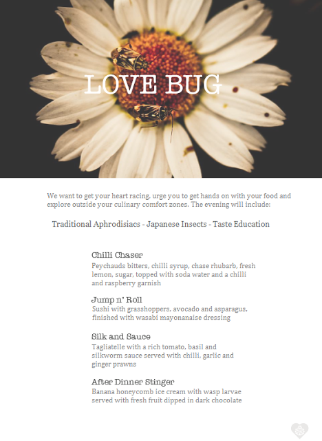 Love Bug edible insect aphrodisiac pop up menu