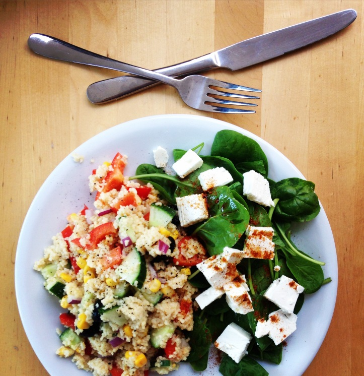 couscous and salad vegetarian