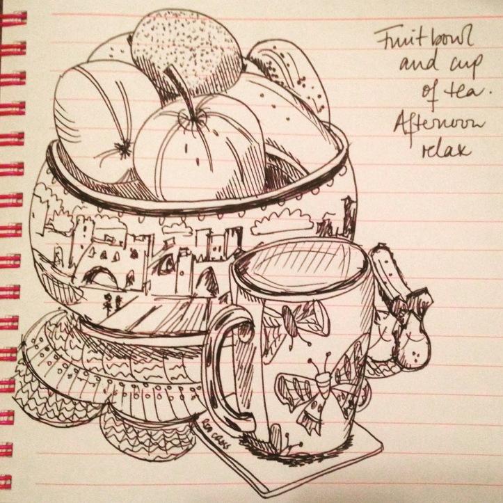 Tea and fruit bowl still life